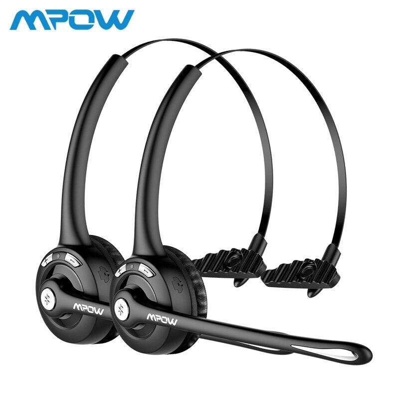 1/2 pack Mpow Pro Professionnel Sans Fil Bluetooth casque Avec Microphone 13 H Parler Temps Pour Le Conducteur Center D'appel Skype Bureau