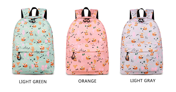 WINNER Fox Pattern Printing Backpack Female Travel Daily Laptop Student School Backpack Water  Repellent For Teenagers Mochila 2018 (6)