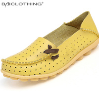 New Summer Genuine Leather Hollow Out Women Shoes Casual Flat Shoes Breathable 2017 Fashion Women Loafers