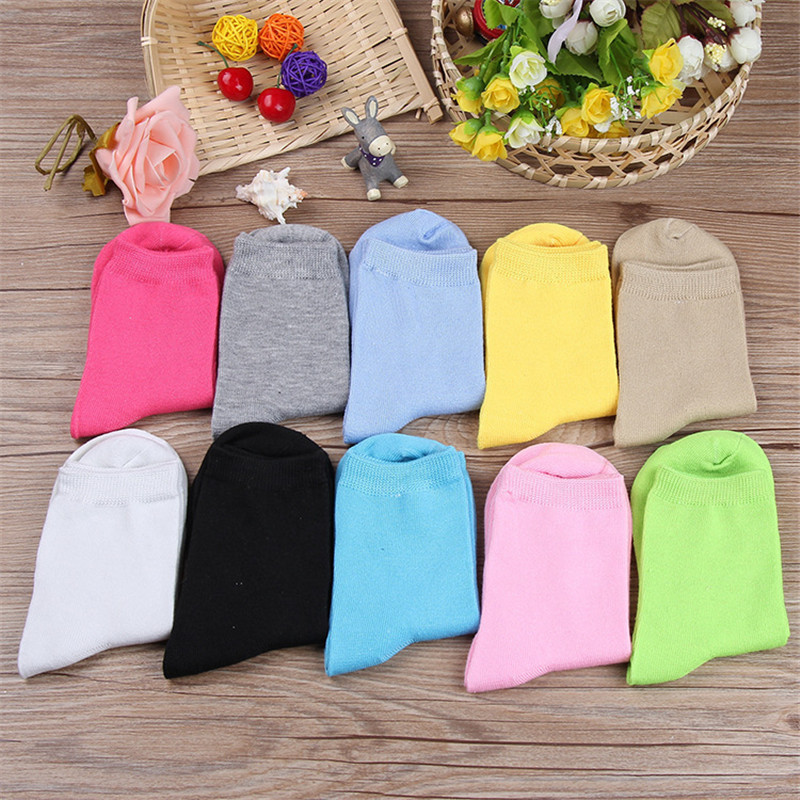 Korean Autumn Spring Solid Female   Socks   Candy Cotton Ladies Ankle Hose Students Casual Colorful Blue Pink Yellow Green Red   Socks