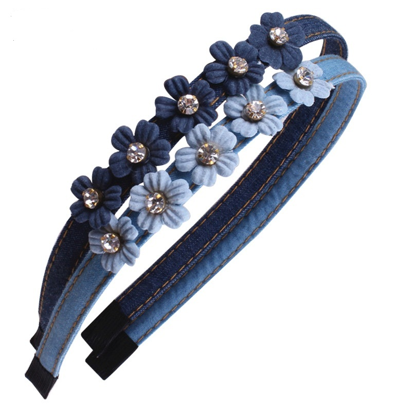 MeryYuer Blue Jeans Little Flower Headband Pearls Diamond Embed Women Hairband Denim Cloth   Headwear   Jeans Mujer Hair Accessories