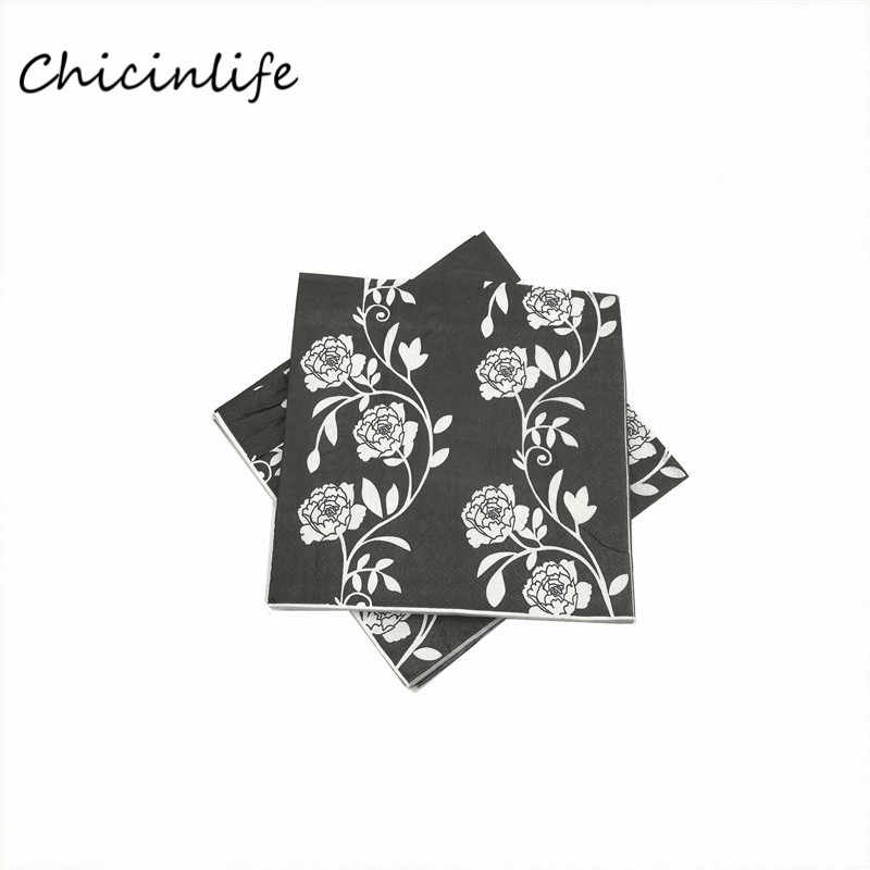 Chicinlife 20pcs/lot Flowers Paper Napkins Decoupage Birthday Wedding New Year Party Table Supplies tissue