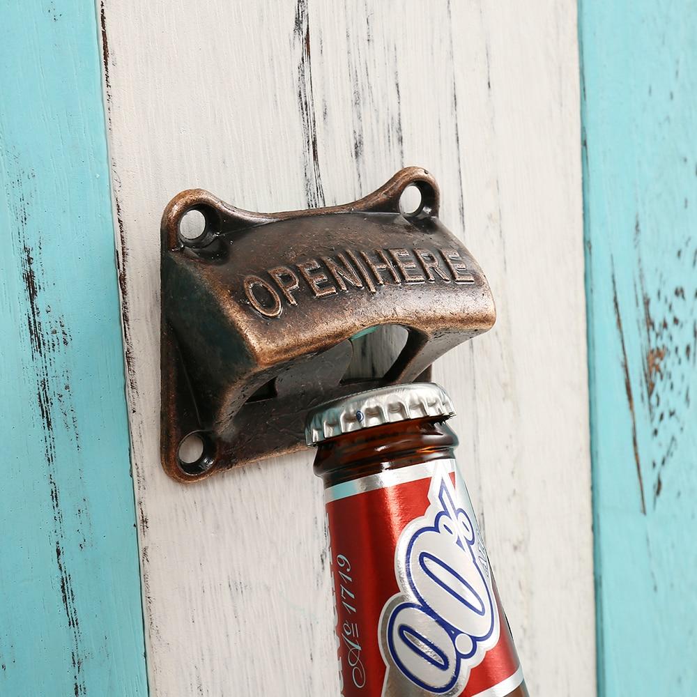 Vintage Bronze Wall Mounted Opener Wine For Beer Soda Glass Cap Bottle Opener Kitchen Accessories Supplies Bar Gift Zinc Alloy
