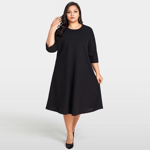Elegant Women Plus Size Dress O-Neck 3 4 Sleeve Back Sheer Lace Splice  Black Dress Solid Large Size Loose Female Dress Oversize ceddf5410abd