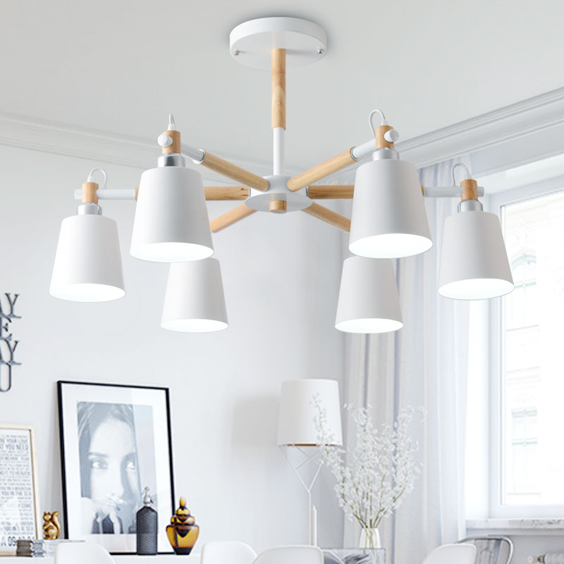 Nordic creative simple 3/6/8 head solid wood LED chandelier lamp for living room white black ceiling chandeliers lighting