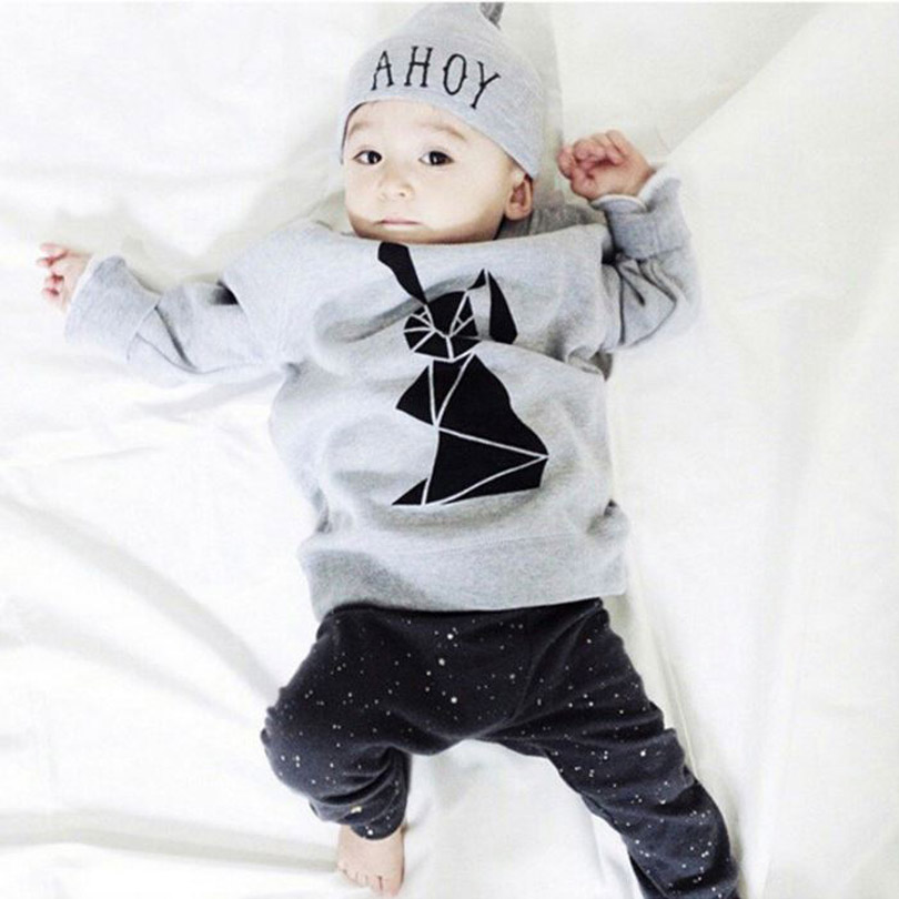 New Arrive kids clothes Fit spring autumn Gray with rabbit baby boy clothes Little Dude 2pcs tracksuit clothes YAA036