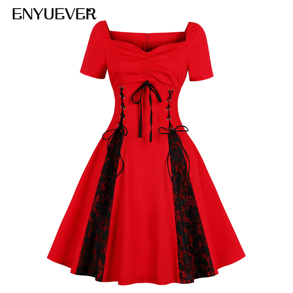 445967555ca Enyuever Steampunk Gothic Dress Women Plus Size Lace Up Corset Red Vestidos  Vintage 50s Victorian Party