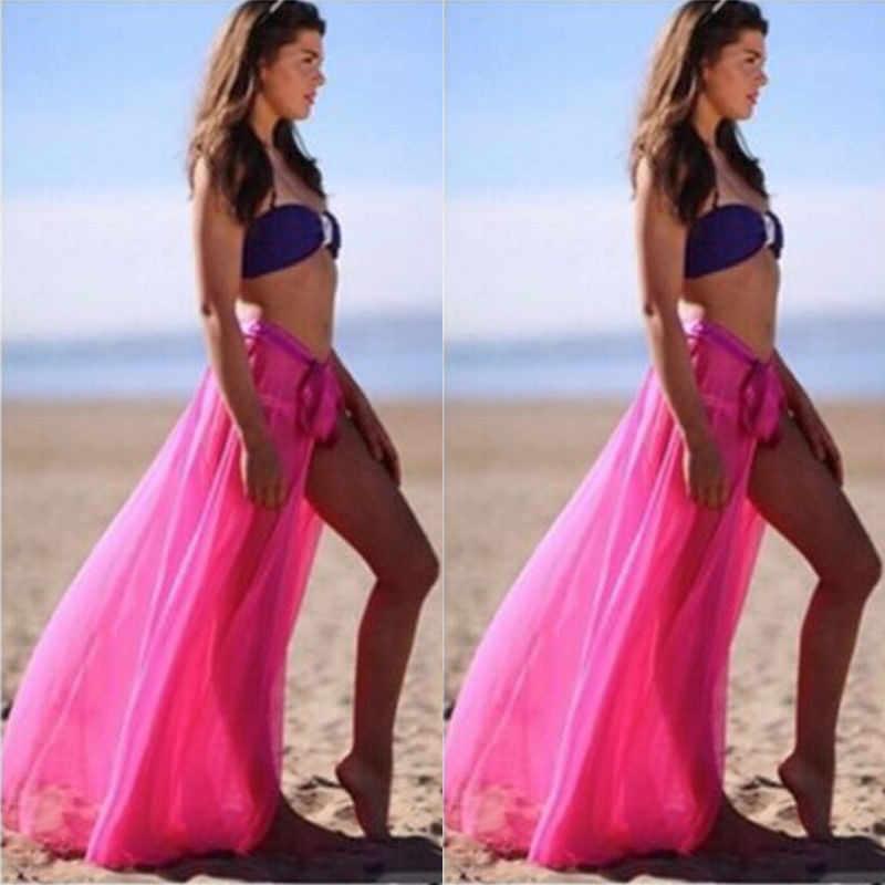 النساء ملابس السباحة بيكيني التستر شير تنورة الشاطئ ردائه Pareo فستان طويل ماكسي ملابس السباحة بحر