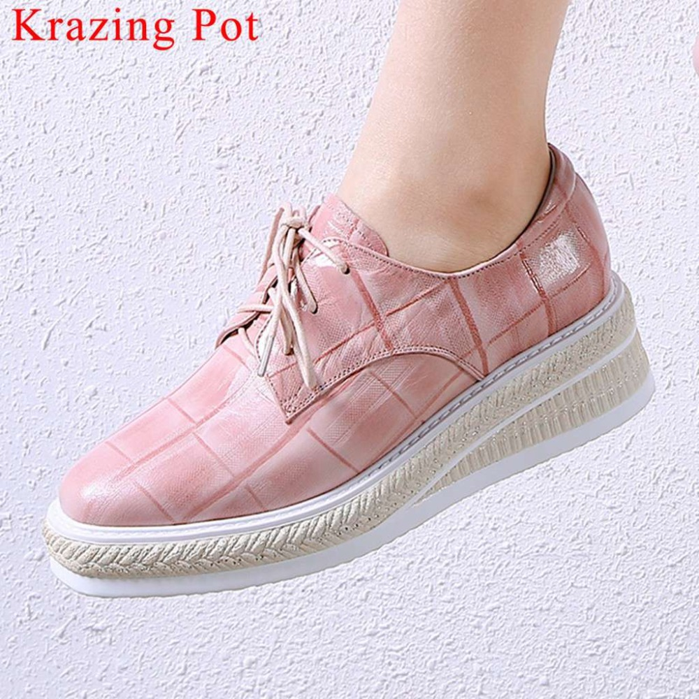 2019 luxury genuine leather vintage square toe Punk style lace up wedges med bottom waterproof plus size casual wear shoes La42019 luxury genuine leather vintage square toe Punk style lace up wedges med bottom waterproof plus size casual wear shoes La4