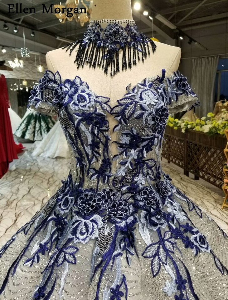 59fab1b201209 Silver Glitter Fabric Lace Ball Gowns Wedding Dresses 2019 Saudi Arabian  Off Shoulder 3D Flowers African Black Girl Bridal Gowns
