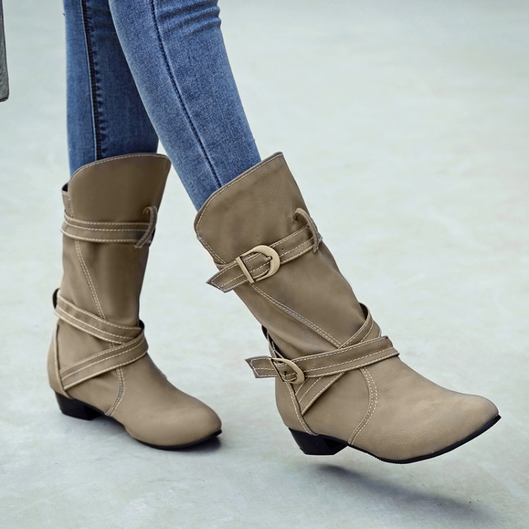 Big Size 11 12 13 14     Fashionable cross-strap buckle, pointed head, low heel sleeve, mid-cylinder bootsBig Size 11 12 13 14     Fashionable cross-strap buckle, pointed head, low heel sleeve, mid-cylinder boots