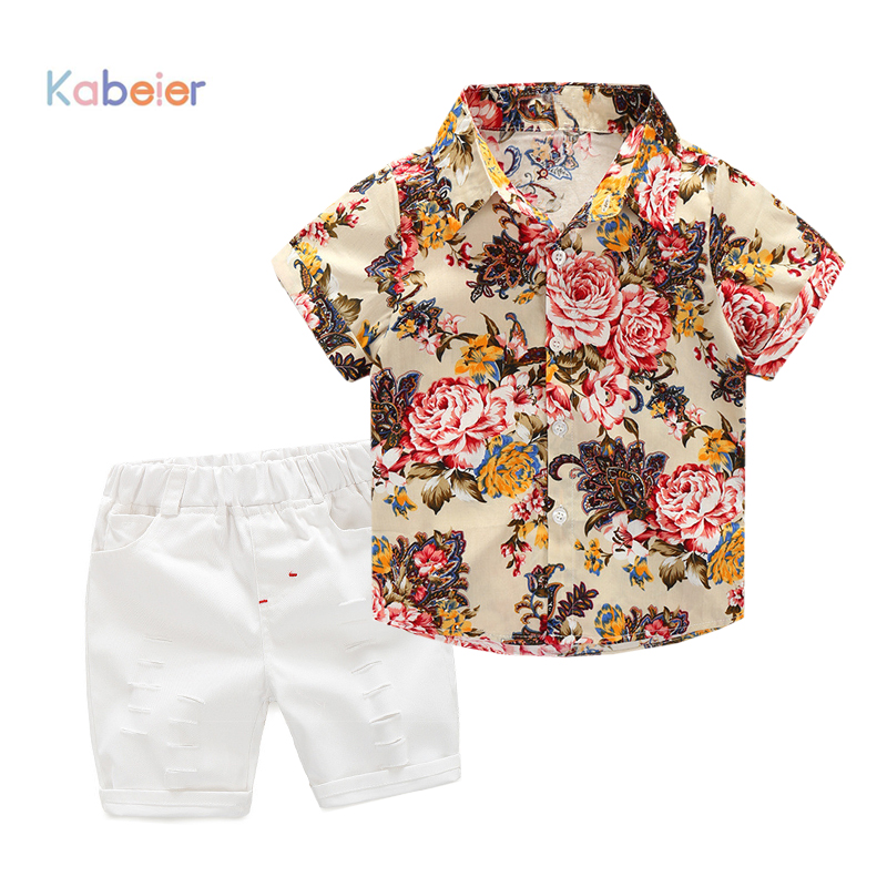 High quality Kids Clothing Sets flower T-shirt +short pants 2pcs baby clothing Boys Clothes Baby boys set 2 3 4 5 6 7years summer baby boy clothing set jeans pants white gray t shirt children clothes 3 pieces sets for boys suit outfits 1 2 3 4 5 6 y
