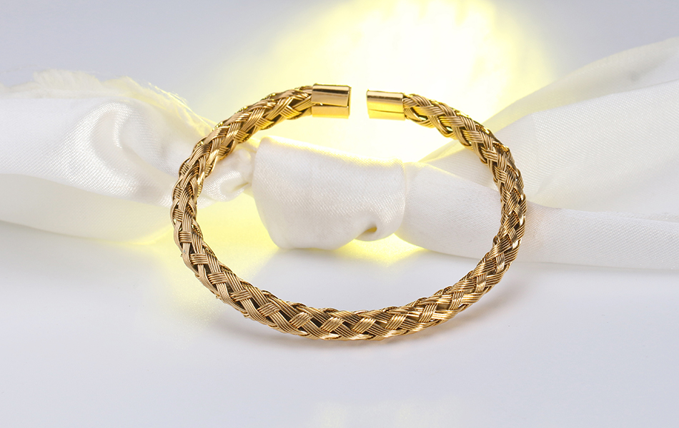 Fashion Gold Color Stainless Steel Trendy Weave Hand Cuff Bracelets