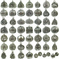 Free Shipping No.1-No.19 2pcs Retro Silver Filigree Pendant Tassel Cap End Jewelry Findings Crafts Making