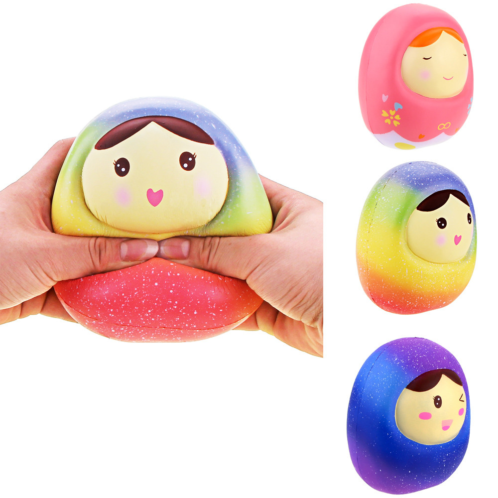 Cute Squishy Toys Stress Reliever Squeeze Galaxy Doll Kawaii Jumbo Slow Rising Cream Scented Home Decor Fun Toy For Girls MA06d