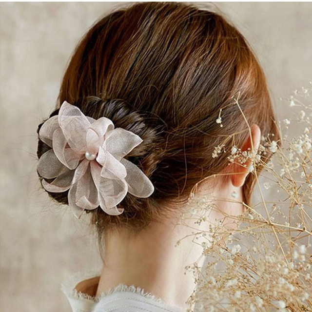 Woman Flower Donuts Twist Headband Magic Hair Bun Maker Diy