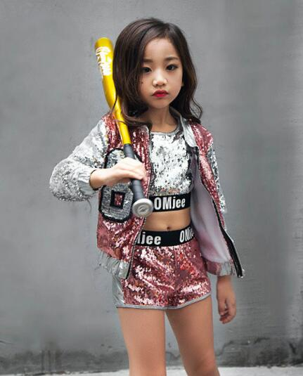 Children Girl hip Hop Jazz Costume Modern Ballroom Dance Wear Clothing Kids Sequined Sports Clothes For Girls 6 8 12 Years Old цена