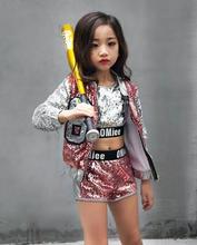 купить Children Girl hip Hop Jazz Costume Modern Ballroom Dance Wear Clothing Kids Sequined Sports Clothes For Girls 6 8 12 Years Old по цене 1165.2 рублей