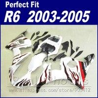 Free custom motorcycle parts for YAMAHA R6 fairing kit 2003 2004 2005 red flame white black Fairing YZF fairings 03 04 05