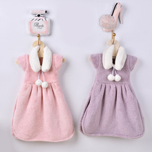 Cute Creative Small Thick Coral Fleece Hand Towels Hanging Hand Wipe Restaurant Kitchen Dress Towels Princess