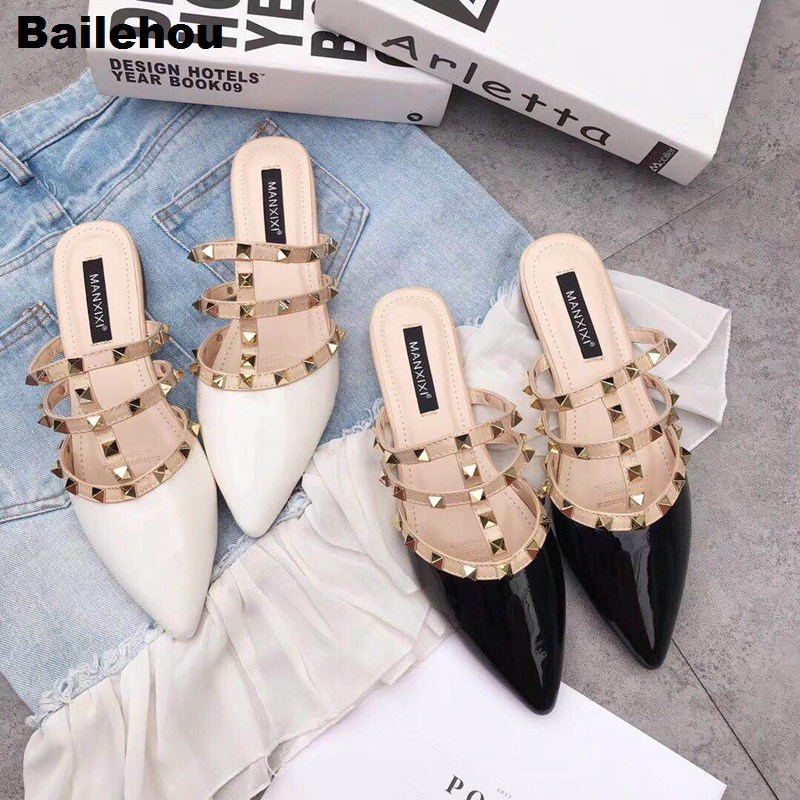 Bailehou New 2019 Spring Women Slippers Flat Mule Shoes Brand Rivet Slides Slip On Casual Shoes Summer Women Patent Leather ShoeBailehou New 2019 Spring Women Slippers Flat Mule Shoes Brand Rivet Slides Slip On Casual Shoes Summer Women Patent Leather Shoe