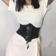 Lace-up Women's Ultra-wide Belt Retro Court Girdle Wide Belt Cummerbunds Ladies Dress Skirt Decoration Accessories New 2019 eyelet lace up wide belt
