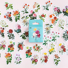 46pcs/pack Retro Flower Series Adhesive Paper Sticker DIY Stationery Bookmark Diary Decorative Seal Sticky Gifts For Kids