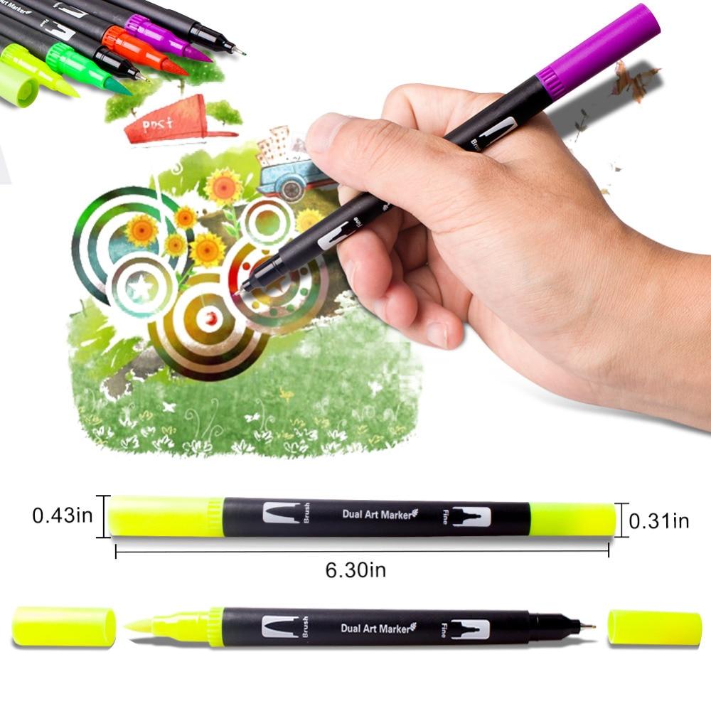 100 couleurs aquarelle pinceau stylo 2mm pinceau pointe et 0.4mm pour pointe Fine double pointe Art marqueurs pour adulte coloriage dessin peinture - 2