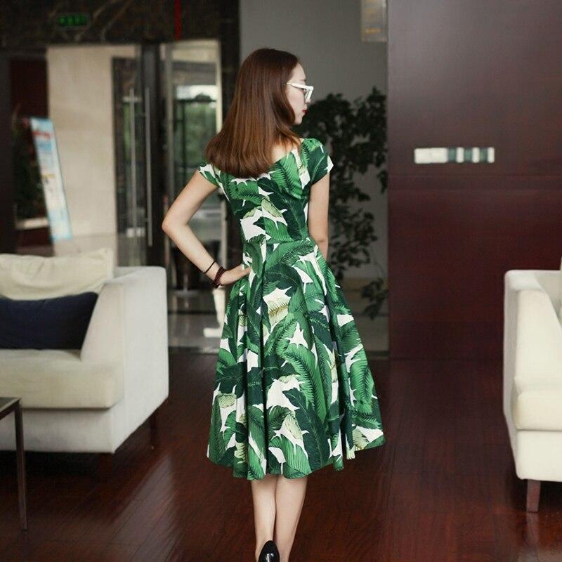 dba3d10b104 summer women vintage 50s green palm leaf boat neck swing midi dress plus  size 4xl rockabilly vestido de festa pin up tutus robe-in Dresses from  Women s ...