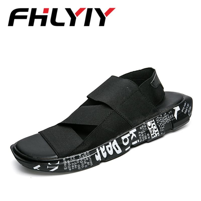 2018 Summer Elastic Fabric Men Sandals Black Simple Hand Sewing Men Shoes Comfortable Be ...