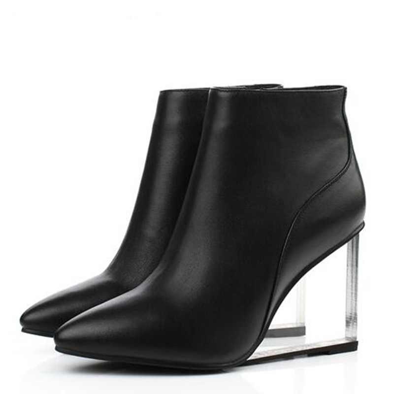 b1f61cdc2 ALLBITEFO size33-41 de moda de la marca de las mujeres botas de cuero  genuino