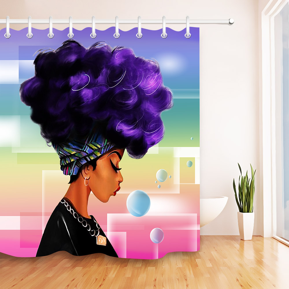 Lb Waterproof Afro Girl Bathroom Shower Curtain African -2981