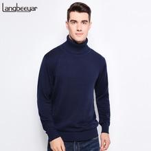 Neue Herbst Winter Mode Marke Kleidung männer Pullover Warme Slim Fit Rollkragen Männer Pullover 100% Baumwolle Gestrickte Pullover Männer