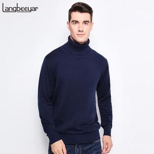 Image 1 - Nieuwe Herfst Winter Mode Merk Kleding Mannen Truien Warm Slim Fit Coltrui Mannen Trui 100% Katoen Gebreide Trui Mannen