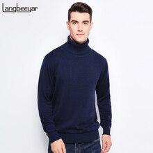 Nueva ropa de marca de moda de otoño e invierno, suéteres para hombres, suéter de cuello alto ajustado cálido para hombres, suéter de punto 100% de algodón para hombres