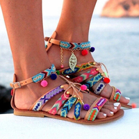 Summer Women Flat Gladiator Sandals Bohemian Beach Casual Candy Color Open Toe Strappy Roman Sandals Plus