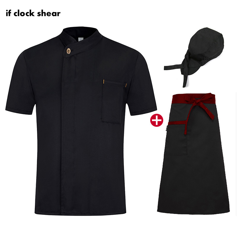 Chef Restaurant Uniforms Hotel Kitchen Black Chef Jackets Work Clothes Men Chef Hat Apron Bakery Shirt Wholesale Sushi Uniforms