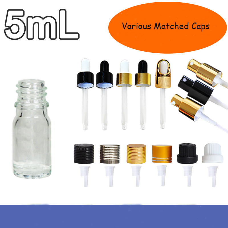 5ML 20Pieces 50Pieces Glass Empty Essential Oil Dropper Bottle, DIY Clear Glass Pipette Essence Package, Cosmetic Lotion Bottle