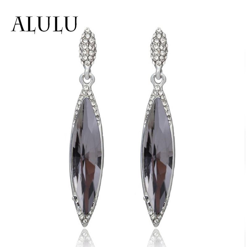 ALULU Retro kristály nő csepp fülbevaló strasszos hosszú fülbevaló ezüstözött Dangle fülbevaló divat ékszerek nőknek