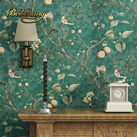 beibehang wall paper. Pune dark blue retro flower wallpaper American country living room sofa backdrop bedroom wallpaper
