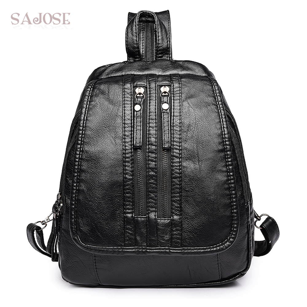 High Quality Women Leather backpack Fashion Simple Black School Backpacks Designers Female Shoulder Student Bag Drop Shipping women backpack fashion pvc faux leather turtle backpack leather bag women traveling antitheft backpack black white free shipping