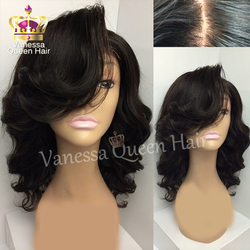 Cheap short wavy wigs synthetic lace front wig for black women glueless synthetic lace front wig.jpg 250x250