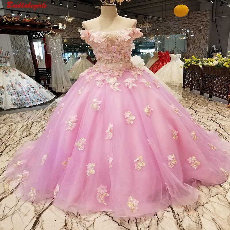 017495 розовое вечернее платье платья с открытыми плечами сексуальный вырез «сердечко» аппликация из цветов очаровательное вечернее платье