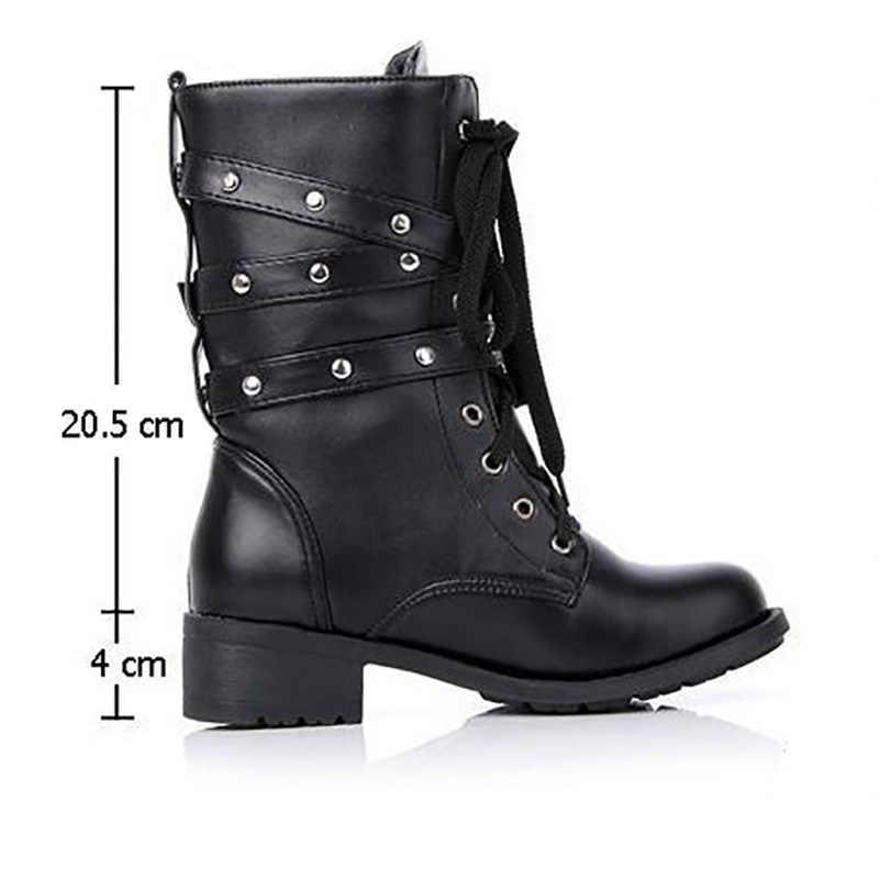 Phụ Nữ Giày Cổ Cao Thời Trang Gothic Giày Người Yêu Mắt Cá Chân Giày Bốt Nữ Da Thật Chính Hãng Da Quân Đội Ủng Khóa Nữ Giày Plus Size 43