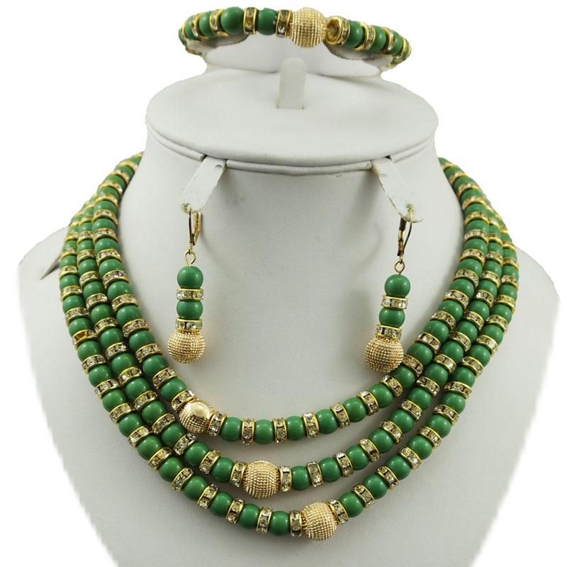 Ожерелье с серебрянном покрытии наборы Африканский большой набор украшений белый цвет набор бижутерии с розой женское ожерелье белые африканские бусы комплект ювелирных изделий - Окраска металла: green