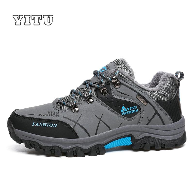 DEKABR Plus Size 39~47 Men Outdoor Hiking Shoes Winter Brand Anti-Skid Mountain Climbing Shoes Male Fur Warm Outdoor Shoes hiking shoe