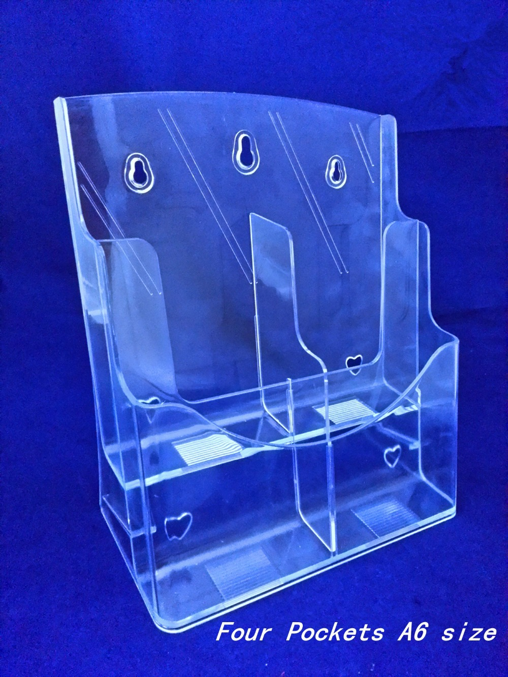 Clear A6 Four Pockets Plastic Acrylic Brochure Literature Pamphlet Display Holder Racks Stand To Insert Leaflet 30pcs a4 4 layer half page brochure holder book data file holder display rack acrylic data file brochure display stand