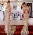 Элегантный женщины вечерние платья кепка рукава V шея кружево пром платья длинная русалка свадьбы и события