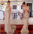 2015 Elegant Women Evening Gowns Cap Sleeves V Neck Lace Prom Dresses Long Mermaid Weddings & Events
