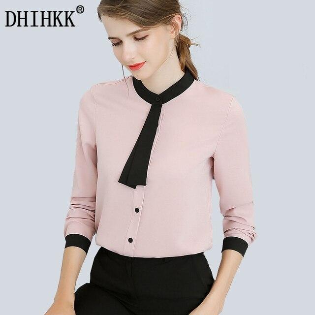 550a4c84e5c7b DHIHKK 2018 New Arrival Mulheres Chiffon Tops Camisa Blusas Primavera Outono  Rosa Branca Moda Lenço No